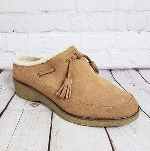Sherpa Wedge Slipper Clogs Womens Slip On Shoes